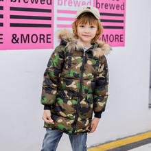 Winter Long Cotton Coat Fur Collar Camouflage Fashion Hooded Outwear Boys Girls Padded-Cotton Clothes Children's Warm Jacket new fashion winter cotton boys coat 2018 korean thick hooded zipper camouflage jacket casual warm kids clothes 4 11y w7