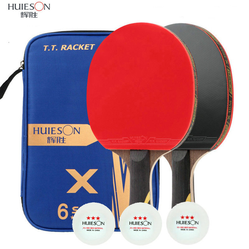 HUIESON 2Pcs Carbon Table Tennis Racket 5 Star/6 Star Super Powerful Ping Pong Racket Bat With 3Pcs Balls For Training Match