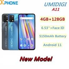 UMIDIGI A11 4GB 128GB النسخة العالمية الهاتف الذكي 6.53 أندرويد 11 16MP الكاميرا الخلفية 5150mAh HelioG25 ثماني النواة دعم 4G OTG