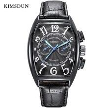 Montres pour hommes montre mécanique automatique hommes haut tendance marque de luxe sport étanche en cuir semaine affichage montre-bracelet KIMSDUN