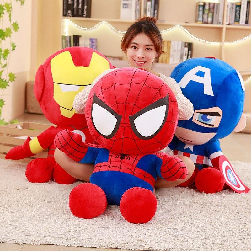 1Pcs 30cm Soft Stuffed Super Hero Captain America Iron Man Spiderman Plush Toys The Avengers Movie Dolls For Kids Cartoon Pillow