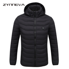ZYNNEVA 2020 Winter Warm Heating Jackets Men Women Smart Thermostat Pure Color Hooded Heated Clothing Skiing Hiking Coats GK6104