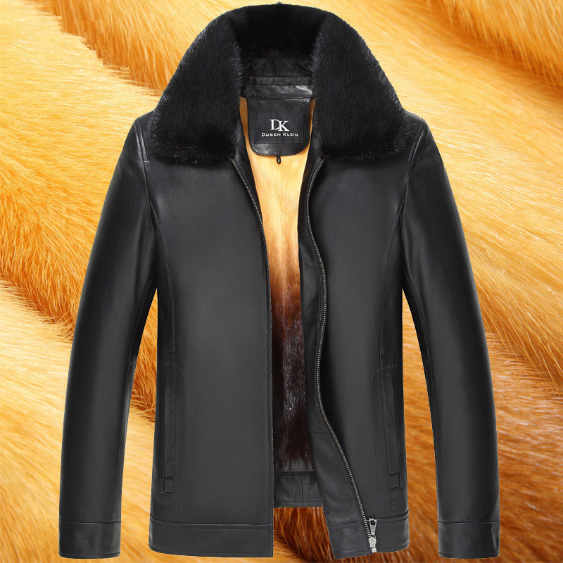 Genuine Leather Jacket Men Real Mink Fur Liner Winter Sheepskin Coat Mens Mink Jackets Casacas De Cuero Genuino 15H1532