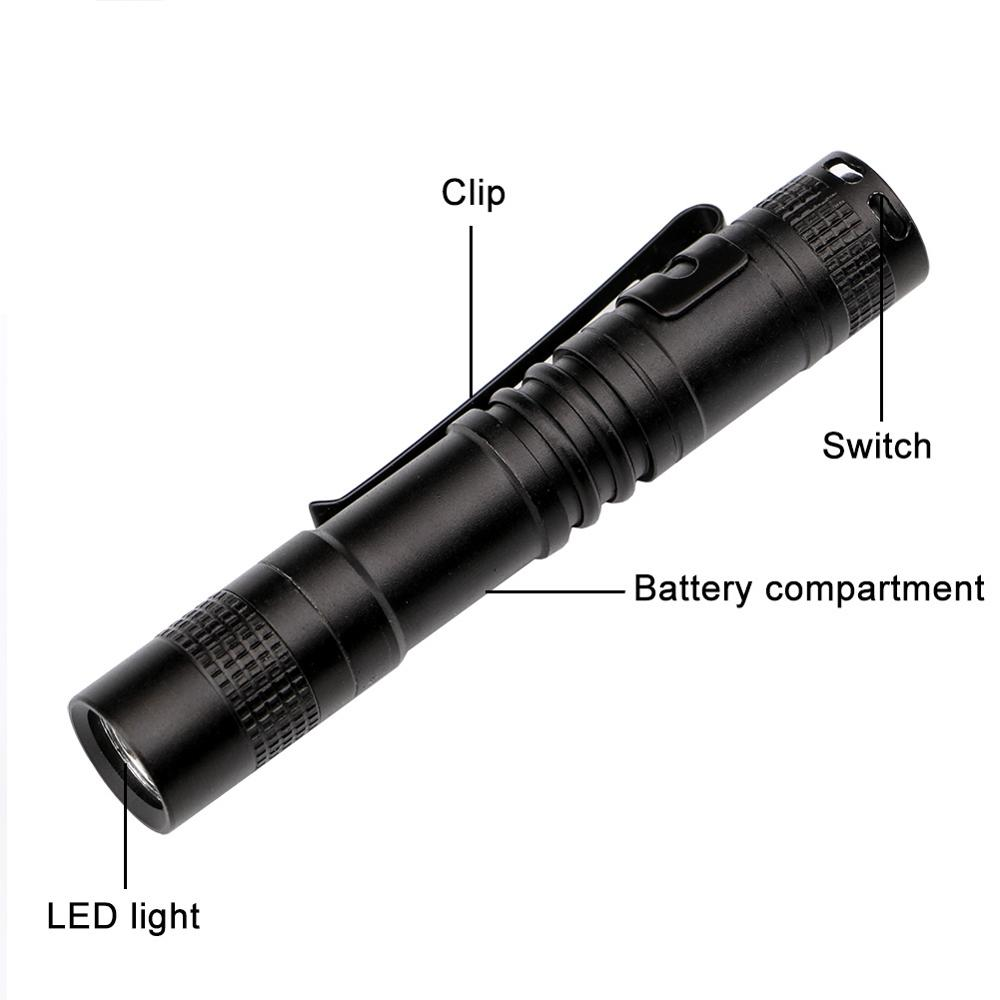 Newest Lanterna Led Flashlight AAA Battery Tactical Lantern Torch XPE-R3 Pen Light For Outdoor Travel Riding Cycling Penlight