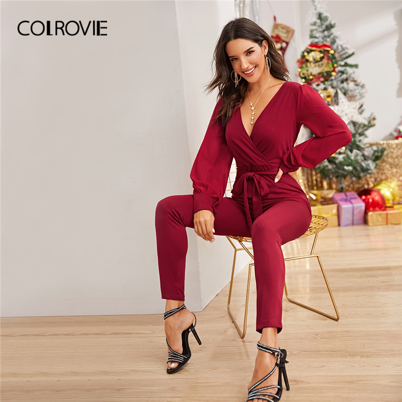 COLROVIE Burgundy Surplice Neck Self Tie Jumpsuit V Neck Skinny Jumpsuits Women 2019 Autumn Elegant High Waist Long Jumpsuits