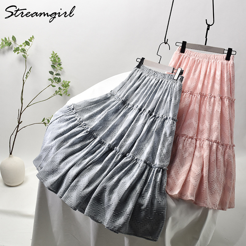 Summer Skirt Long White Skirts For Women High Waist Chiffon Pleated Long Tulle Mesh Skirt Maxi Women's Summer Skirts Woman 2020