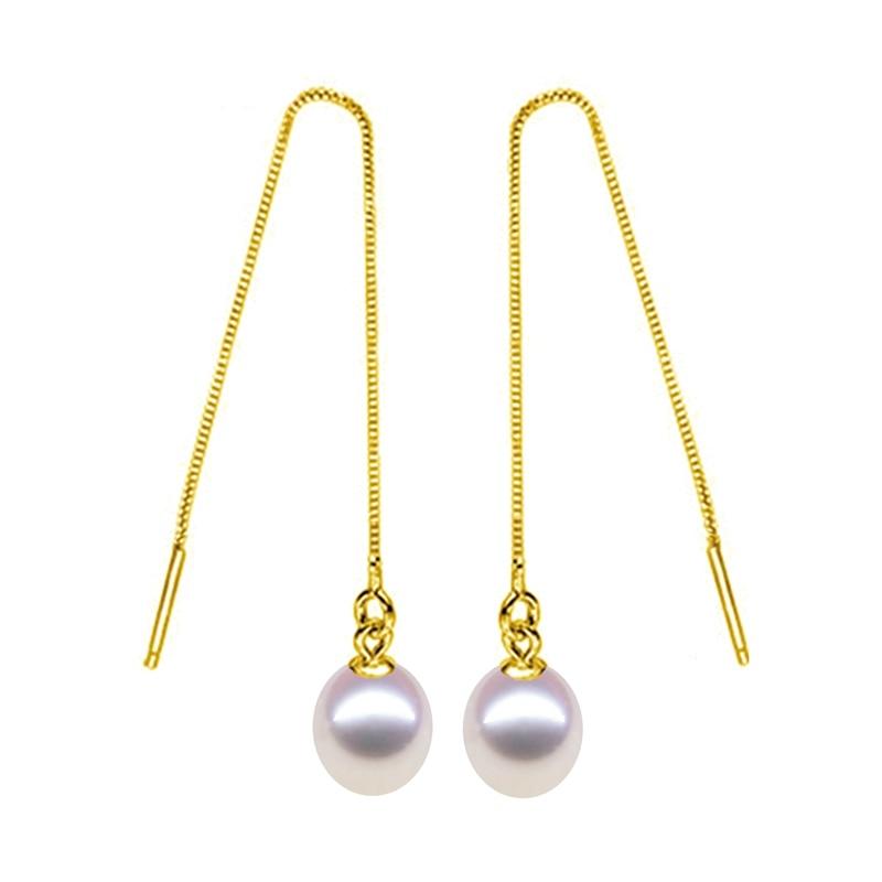 Pendientes de perlas de plata esterlina genuina 925 para mujeres - Joyas - foto 1