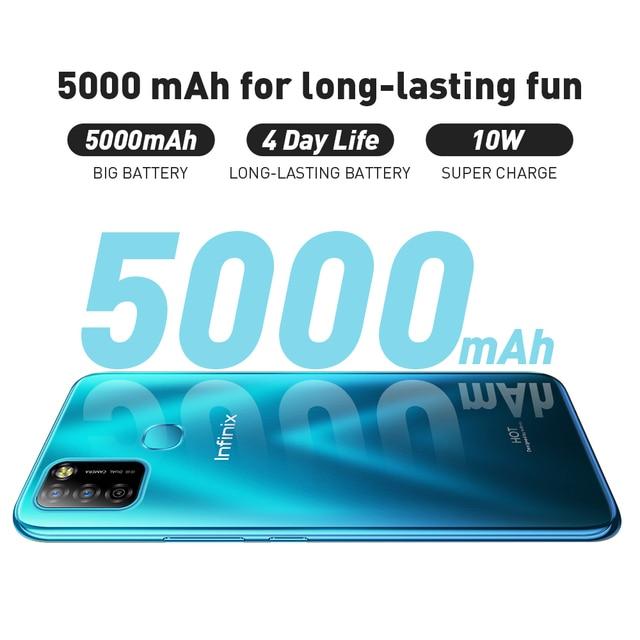 Versão global infinix quente 10 lite 2gb 32gb telefone inteligente 6.6 hd hd tela hd telefone móvel 5000mah bateria 13mp ai triplo câmera 5