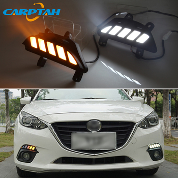 2pcs For Mazda 3 Axela 2014 2015 2016 LED Daytime Running light with Yellow Turn Signal Light waterproof 12V Bumper Lamp LED DRL