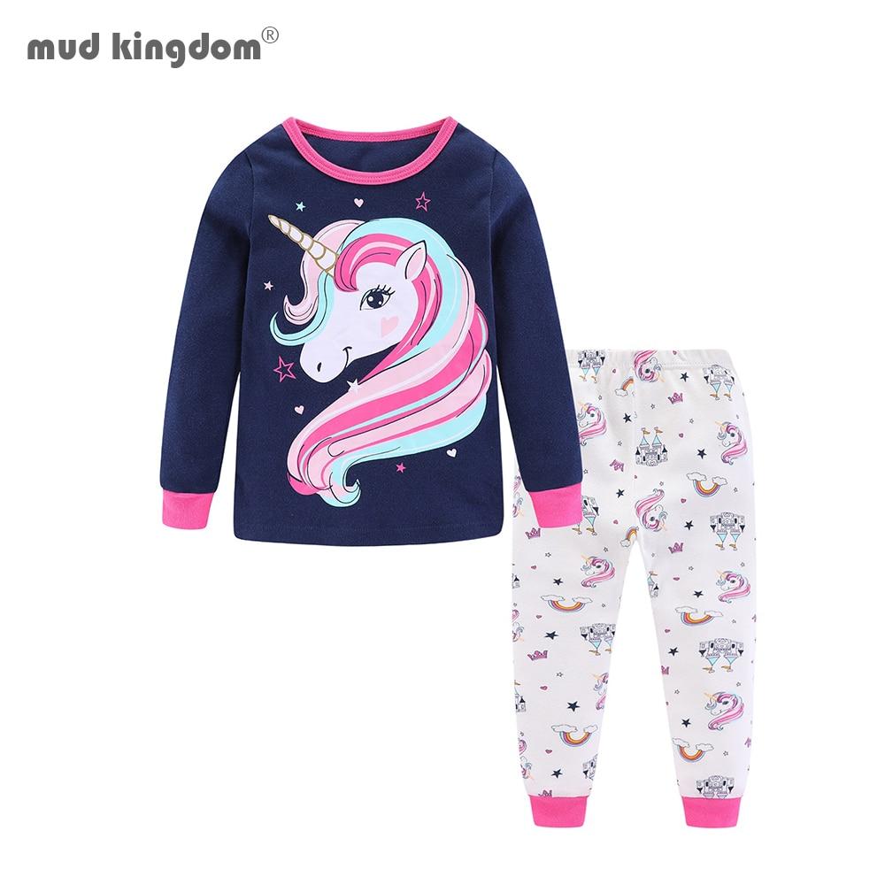 Mudkingdom Girls Boys Pajama Set Long Sleeve Cute Cartoon Printing Kids Sleepwear Home Set Children Clothes