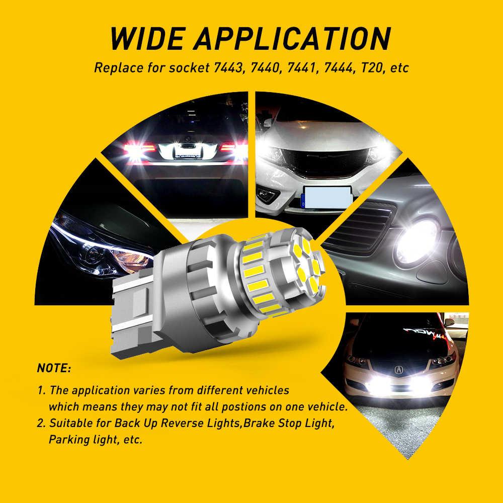 AUXITO 2x 7443 7444 T20 W21/5W LED Licht Für Lada Kalina Granta Vesta DRL Led-lampen 12V 6500K Weiß Super Helle 3030 4014 SMD