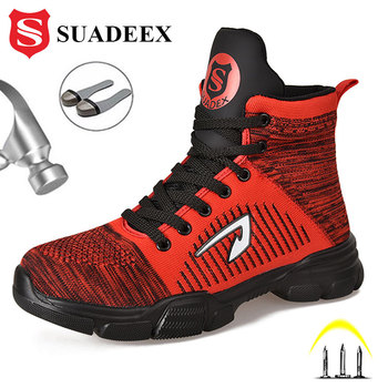 SUADEEX Dropshipping Safety Shoes Men Work Boots Indestructible Steel Toe Shoes Autumn Winter  Work Boots Security Work Shoes suadeex steel toe boots for men military work boots indestructible work shoes desert combat safety boots army safety shoes