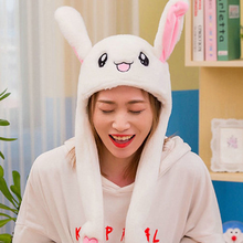 Cute Bunny Hat Moving Ears Anime Plushie Beanie Movable Bunny Ears Hat for Women Girls Cartoon Rabbit Caps Cosplay Accessories