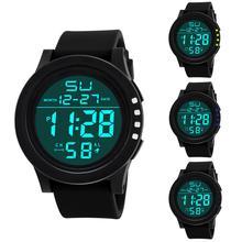 Двойной светодиодный дисплей дизайнерские цифровые наручные часы мужские фоновая подсветка и Календарь Неделя и месяц дисплей Будильник водонепроницаемые часы 남자 계
