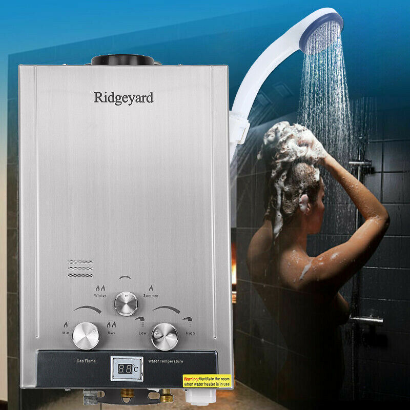 8L 2GPM Natural Gas Tankless Boiler Stainless Instant Endless Energy-Saving Water Heater With Shower Head