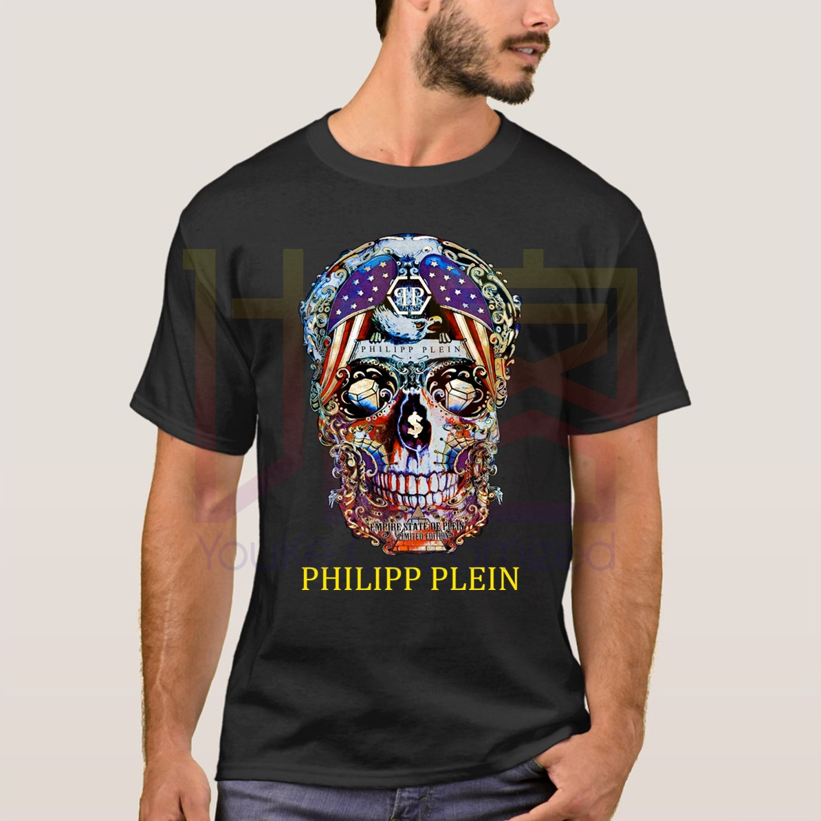 Retro Phillip Plein T-shirt Cotton Graphic Shirt Unoficial Stone-Island T-Shirt Hip Hop Novelty Men Brand Clothing T-Shirt