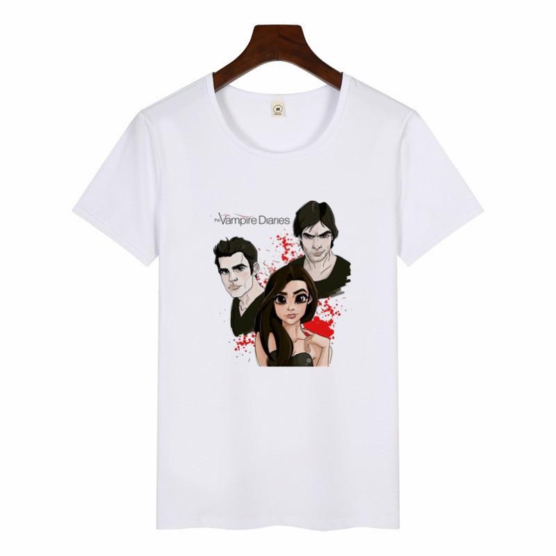 Women's The Vampire Diaries T-Shirt Girls Fashion Short Sleeve Printing T Shirt Female Cartoon Graphic Tees Women Harajuku Tops