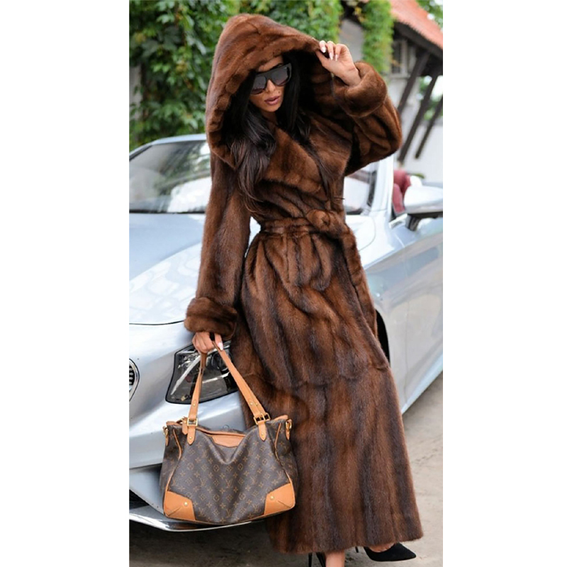 120CM Long Real Mink Fur Coats With Hood Winter Warm Natural Mink Fur Coats Genuine Full Pelt Fur Coat Woman Outwear Plus Size