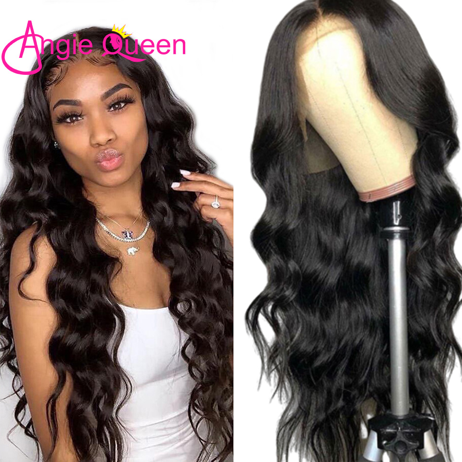 13X4 Body Wave Lace Front Human Hair Wigs ANGIE QUEEN Virgin Hair 4X4 Closure Wig Natural Hairline Peruvian Body Wave Hair Wigs