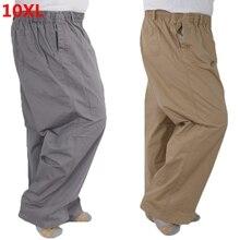 Большие размеры 8XL мужские летние тонкие эластичные хлопковые повседневные брюки с высокой талией для мужчин среднего возраста 7XL 6XL 5XL 4XL