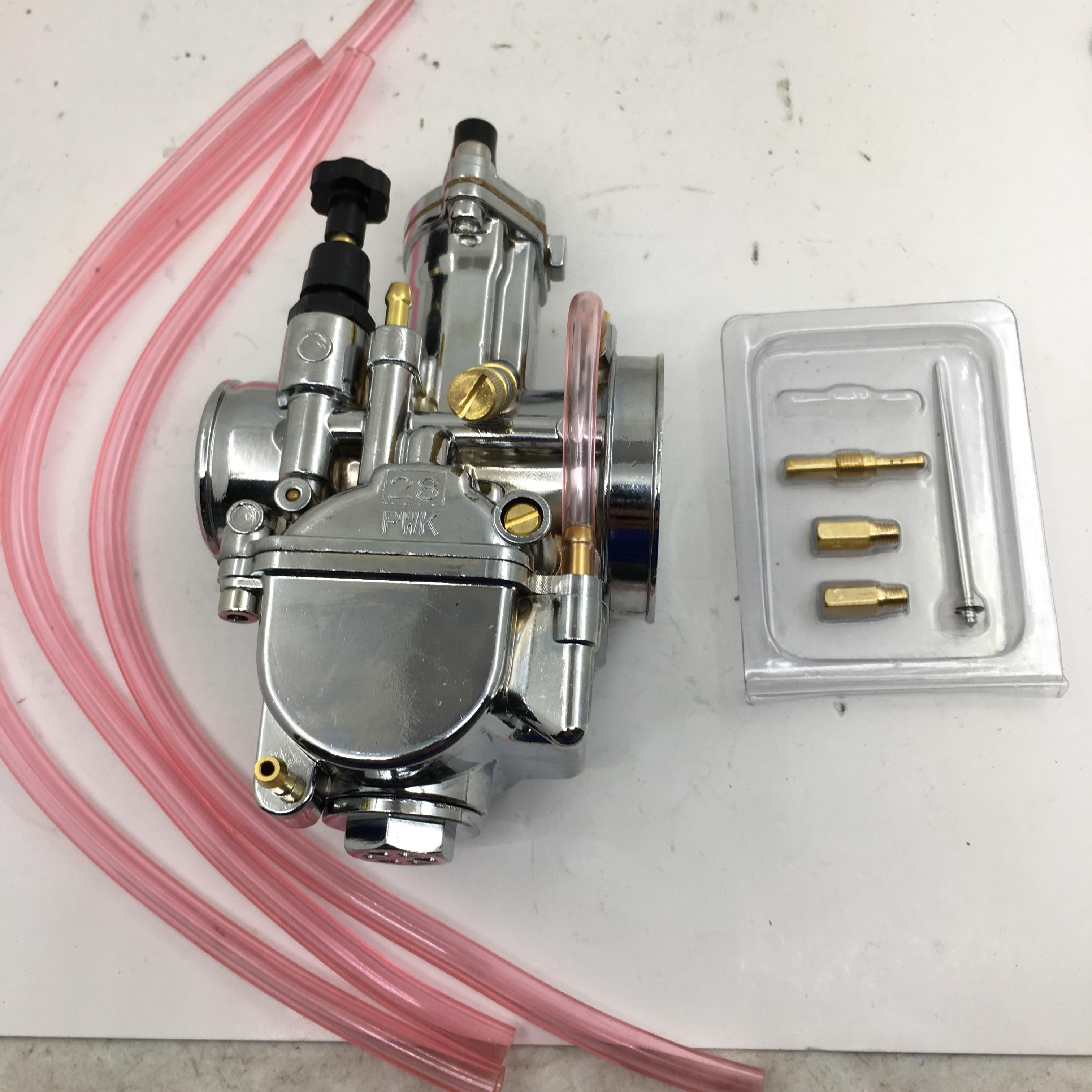 SherryBerg Chrome With Power Jet For Keihin 28 PWK PWK 28mm Flat Slide Carburetor For HONDA RTL250 CR80 CR85R CR125 NSR50 NSR80