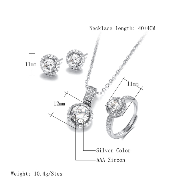 Kinel 18K Gold Zircon Jewelry Sets Engagement Ring Necklace Earring for Bridal Wedding Jewelry Valentine's Day Gift for Women 2