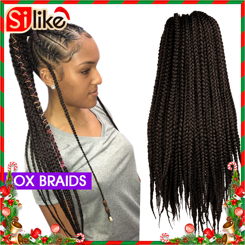 Silike 22 Inch Crochet Box Braids 12 Strands Synthetic Braiding Hair Burgundy Micro Braids Crochet Braiding Hair Extensions