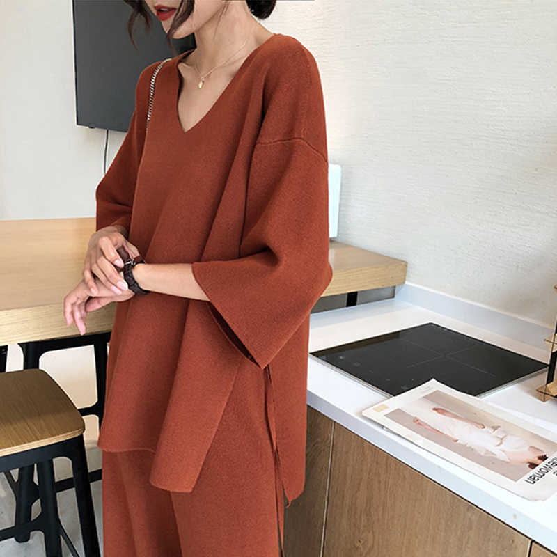 Aseven knitted suits female easing of autumn new fund split wide-legged pants twinset sweater big yards