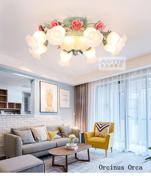 American Country Flower Glass Roof Lighting Living Room Restaurant Bedroom Korean Rural Romantic Rose Roof Lighting