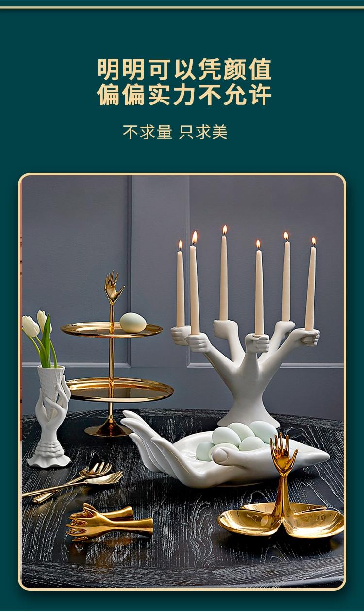 Nórdico branco castiçais ornamentos castiçal jantar decoração