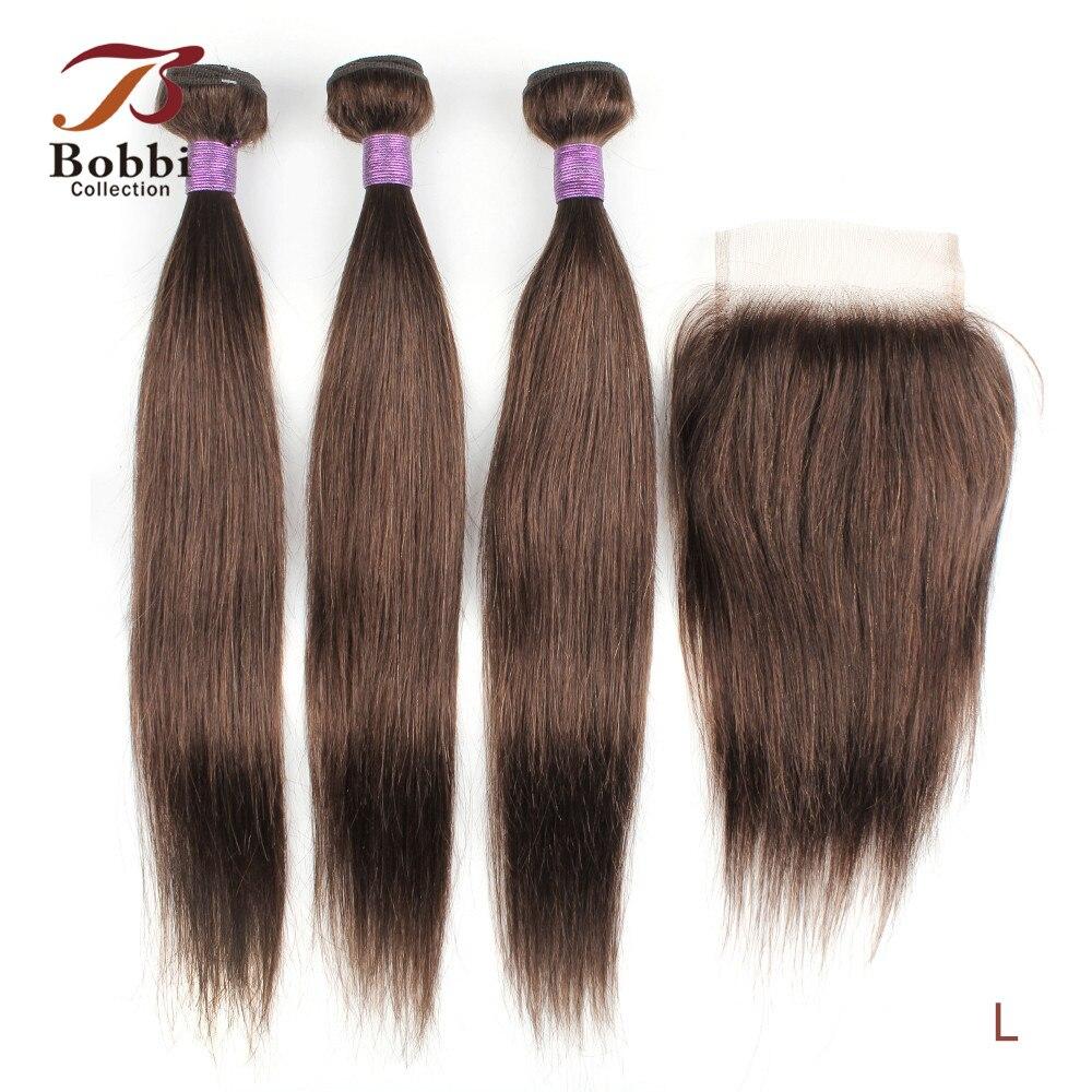 Bobbi 3 пряди с закрытием кружева 200 г/компл. прямые вплетаемые волосы, дешевые чёрный; коричневый эффектом деграде (переход от темного к блонди...