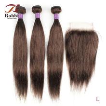 Bobbi Collection – lot de 3 mèches avec fermeture en dentelle, tissage de cheveux naturels Remy lisses, bon marché, noir, brun, ombré, blond, 200