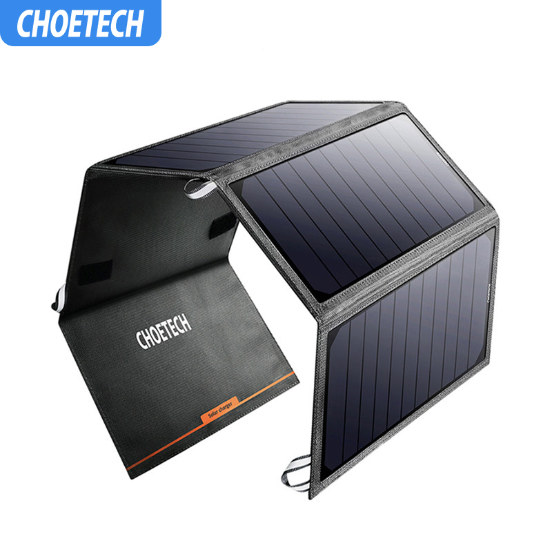 CHOETECH Solar Folding 24W 5V 2.4A Cell Charger Power Panel Portable Solar Phone Charger For Samsung S8 Iphone 7 8 Smartphones