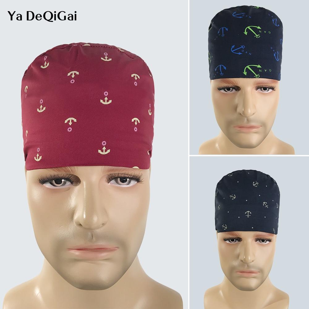 High Quality Adjustable Doctor Nurse Unisex Medical Cap Printing Surgical Cap 100% Breathable Nurse Work Cap Care Scrub Hat