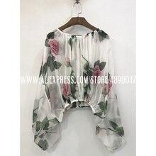 Rose print Silk ladies shirt sexy round neck long sleeve pri