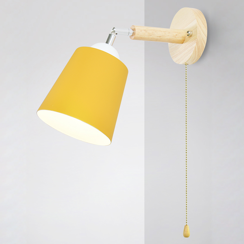 Wooden Wall Lights Bedside Wall Lamp With Switch Wall Sconce Modern Wall Light For Bedroom Nordic Macaron Steering Head