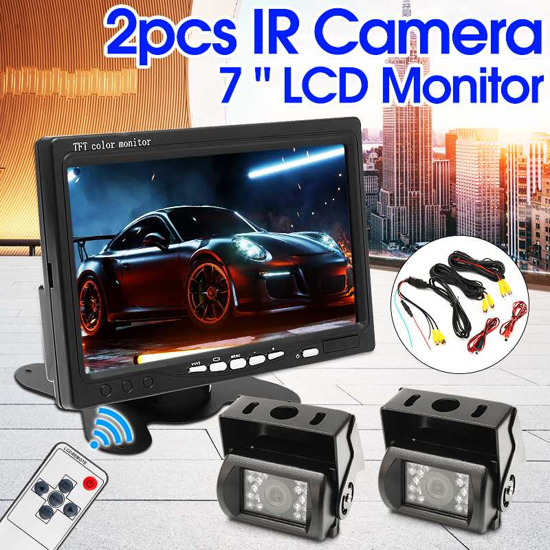 CCD HD IR 18 LED 2X Car Truck Rear View Camera Reverse Backup Parking With 7inch LCD Monitor For Truck Bus RV Trailer SUV