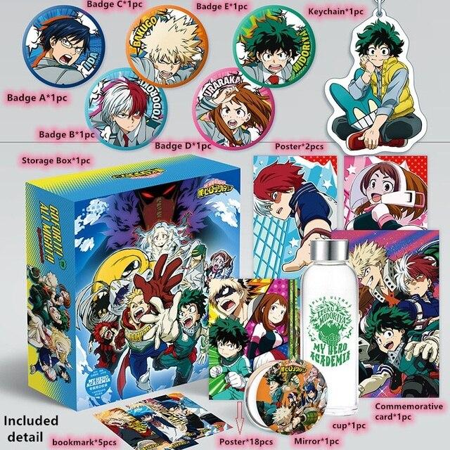 Anime My Hero Academia zabawka pudełko Katsuki Izuku plakat brelok pocztówka kubek wody zakładka naklejka na lodówkę schowek