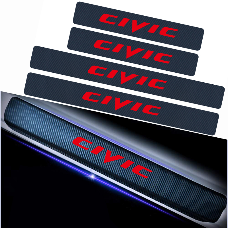 Car Accessories 4pcs Anti Scratch Scuff Pedal Protective Sticker 4D Carbon Fiber Vinyl Car Door Sills Sticker For Honda Civic