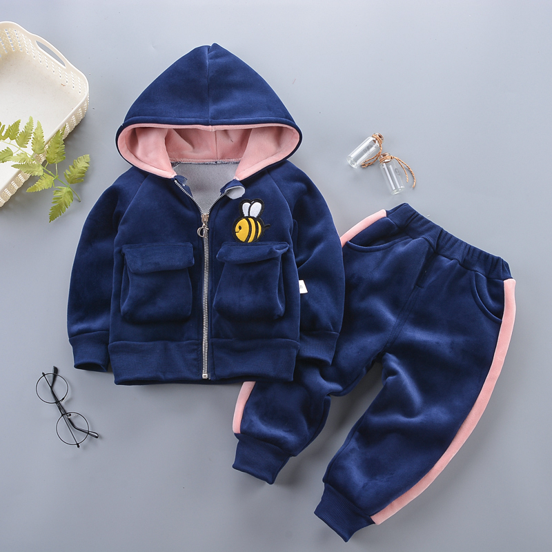 Hooded-Coat Clothes Baby Baby-Boys Outfit Pants Velvet Long-Sleeves Toddler Newborn Girls