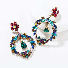 Jouval Boho Rhinestone Flower Hollow Round Dangle Earrings For Women Waterdrop Long Circle Earring Female ZA Jewelry Accessories(China)