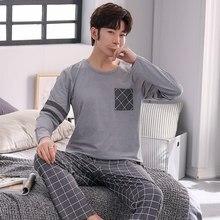 2020 outono manga longa casual xadrez conjunto de pijama para homens coreano macio pijamas terno masculino loungewear casa roupas