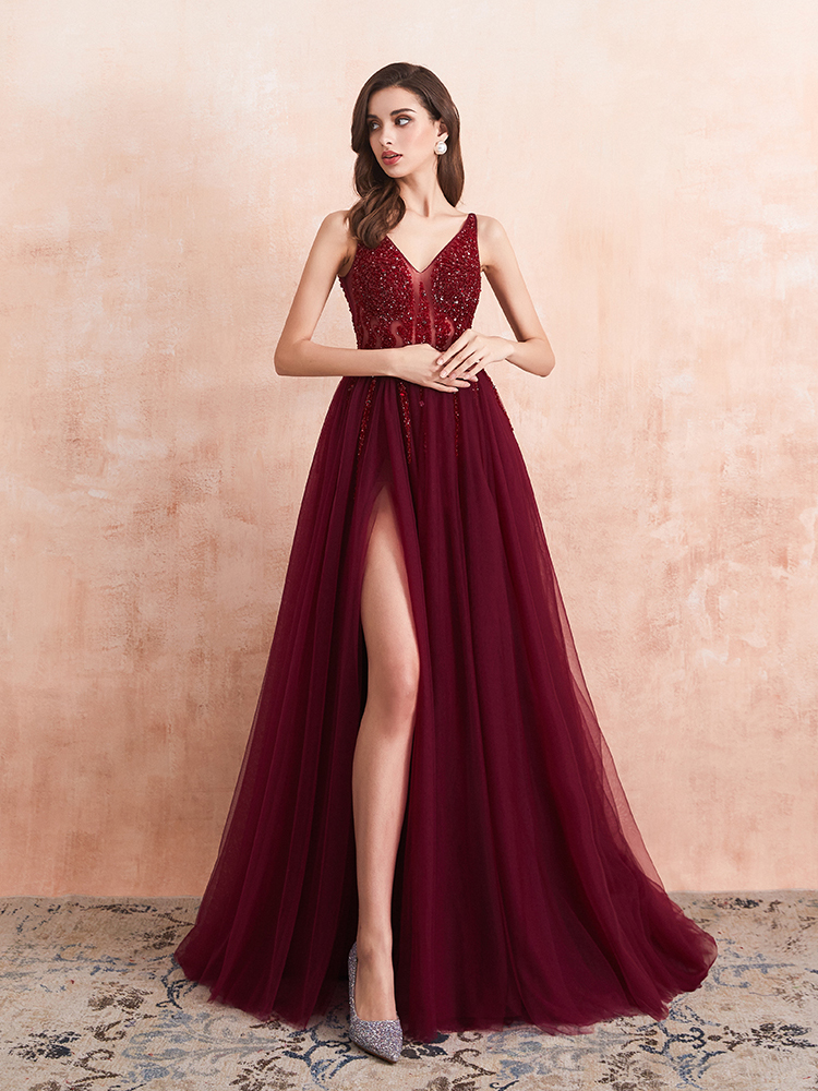 Prom-Dresses Party-Gown Special-Occasion Evening Sexy Beaded Tulle Long V-Neck A-Line