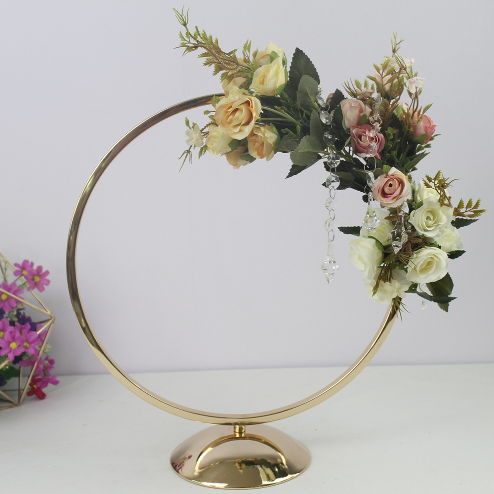 10 PCS Round Ring Arch Wedding Table Centerpieces Metal Artificial She (2)
