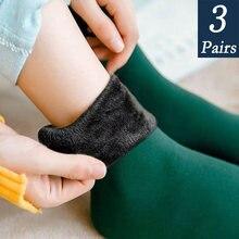 3 Pairs frauen Winter Warme Socken Verdicken Thermische Nylon Kaschmir Einfarbig Socken Weichen Schnee Samt Stiefel Boden Schlafen schwarze Socke