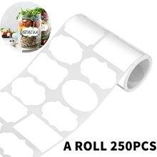 250個/ロール5.5 × 3.5センチメートル消去可能なホワイトボードステッカーキッチン瓶オーガナイザーラベル防水リライタブル白キッチンステッカー
