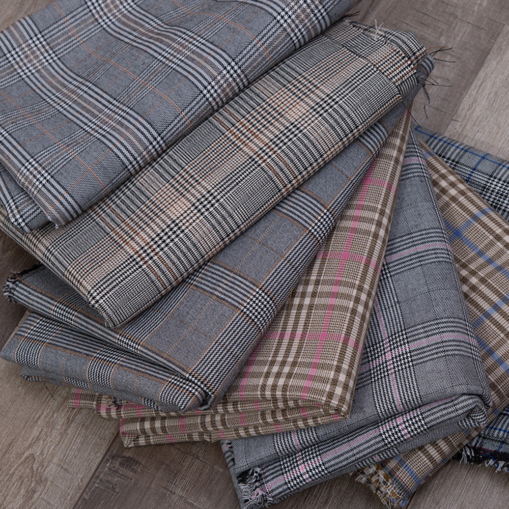 High-Grade British Polyester Yarn-Dyed Plaid Suit Pants Garment Fabric Vest Striped Clothing Fabric