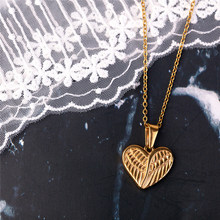 100% Stainless Steel Wing Pendant & Necklace For Women Golden Metal Angel Wing Charm Choker(China)