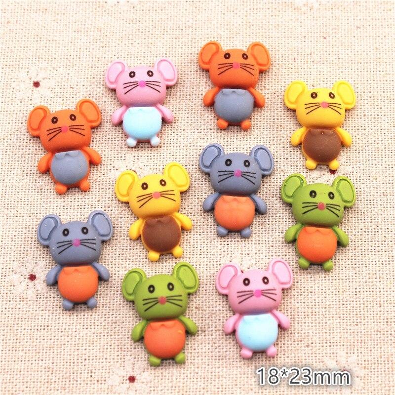 20pcs 18*23mm Mix Colors Cute Resin Animal Mouse Flatback Cabochons Miniature Art DIY Hair Clip Decoration