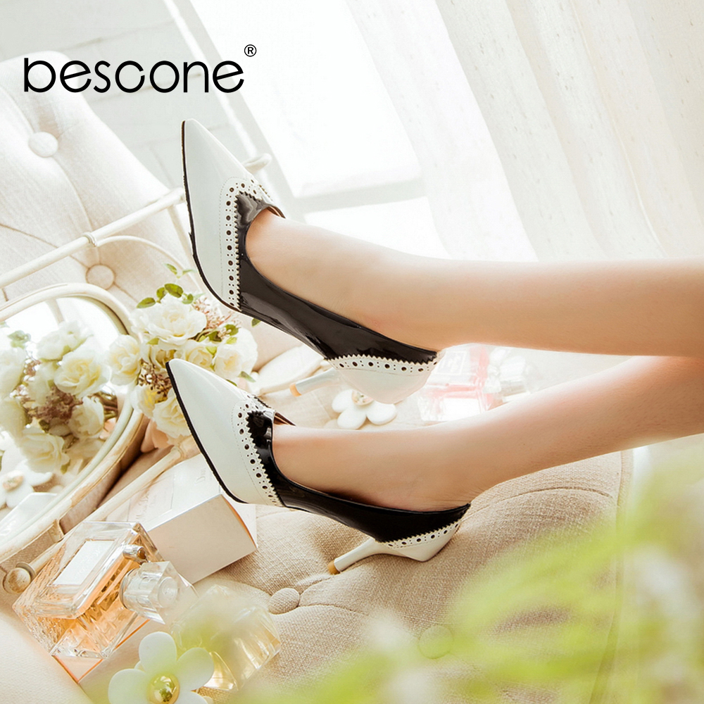 BESCONE Sexy Pointed Toe Ladies Pumps High Quality Patent Leather Shallow Thin Heel Shoes New Fashion Dress Women Pumps BM297Womens Pumps   -